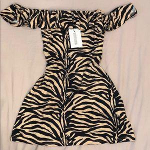 Missguided zebra print Bardot frill skater dress